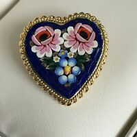 Vintage Heart Micro Mosaic Brooch Italian Floral Gold Tone Valentine Gift 1950s