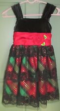 Bonnie Jean Girls Holiday Dress Black Red Green Plaid Velvet Lace - Size 7