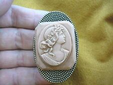 brown Cameo rectangle Pin pendant brooch (Cl9-11) Roman Woman leaves in hair lt