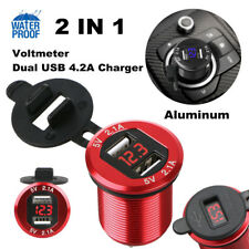 Red 12V Dual USB Port 4.2A Car Cigarette Lighter Charger Socket w/ LED Voltmeter