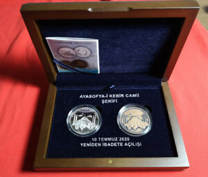 TURKEY 2020, SET, Hagia Sophia Reopen as Mosque, SILVER and BRONZE COIN with BOX