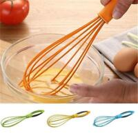 Orange Silicone Handle  Mixer Balloon Wire Egg Beater Kitchen Tool D