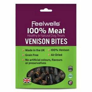 Feelwells 100% Meat Treats Venison Bites Grain Free Air Dried Dog Reward 100g