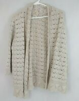 JM Collection Beige Open Front Cardigan Sweater Size XL