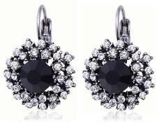 Stylish Black Stone Rhinestone Silver Earrings Diamante Stud Hoop Pierced E22