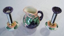 Vicki Carroll Signed Studio Pottery Bon Appetite Pitcher Candle Holders Lot