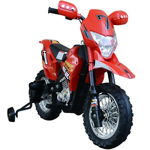 Aosom Cruising Kids Dirt Bike Electric Motorcycle w/ Charging 6V Battery, Red