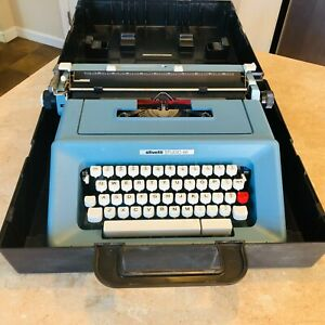 Vintage Olivetti Studio 46 Blue Manual Portable Typewriter & Original Case