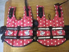 SET OF 2 Dog Life jacket Small Pink Polka Dot Life Vest Paws Aboard Nylon PFD