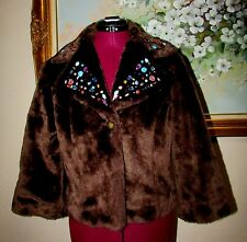 KNITRO JUNIORS/YOUTH GIRLS BROWN FAKE FUR SHORT EMBELLISHED LINED JACKET SIZE L