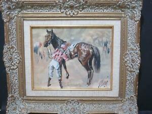 Horse Racing Oil Specialist John Gregory King b.1929 Preparing to Mount