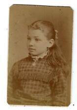 W. H. HARRY PHOTOGRAPHER*WOOSTER OHIO*CUTE GIRL PLAID DRESS FRINGE*ANTIQUE CDV