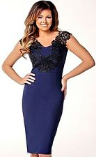 New Womens Jessica Wright Pearly Bodycon Midi Dress Lace Panel Detail Navy UK 12