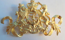 Vintage Signed Maeve Carr New York Royal Crown Lion Heraldic Medieval Pin Brooch