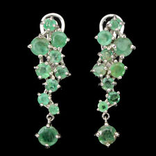 Unheated Round Emerald 5mm Cz 14K White Gold Plate 925 Sterling Silver Earrings