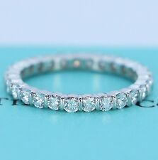 $6,375 Vintage Tiffany Platinum Bar Set Round Diamond 2.2mm Eternity Band Ring 6