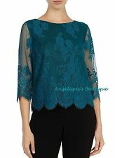 COAST KATIA DARK TEAL GREEN FLORAL LACE CROPPED PARTY EVENING TOP SIZE 6 NEW