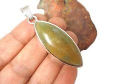 Green  BLOODSTONE  Sterling  Silver  925  Gemstone  PENDANT -  Hallmarked