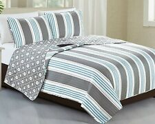 Blue Gray White Nautical Stripe 3 pc Quilt Set Twin Full Queen King Bed Coverlet