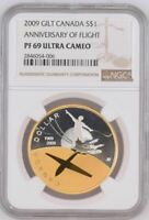 2009 CANADA $1 - ANNIVERSARY OF FLIGHT - GILT GOLD  NGC PF69UC - SILVER COIN