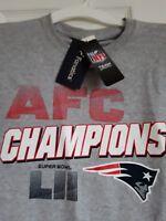 New NFL AFC  Champions Super Bowl LII New England Patriots T-Shirt Adult Large