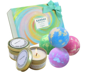 Vegan Organic Bath Bombs and Scented Candles Gift Set Perfect for Bubble & Spa