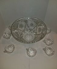 Glass Clear Punch Bowl & Cups 8Piece Set