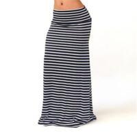 Women Lady High Waist Striped Fold Over Stretch Long Maxi Skirt Plus Size 6L
