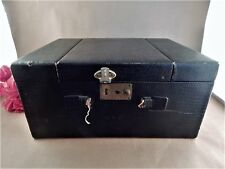 Vanity Case Train Bag Antique 1910s Old Shabby Box Black Leather Mirrored Valise
