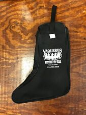 Vaqueros  Black Canvas Boot Bag for travel storage zippered compartments