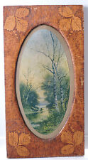 Antique Pyrographic FLEMISH ART Carved Oval WOOD Frame Cows Print Signed c1907