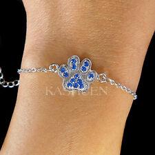 ~Royal Blue Pawprint made with Swarovski Crystal Paw Print Dog CAT Bracelet Cute