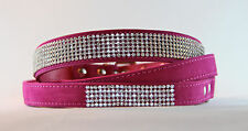 SMALL PINK DIAMONTIE CLUSTER DOG COLLAR AND LEASH - 35cm