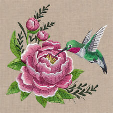 HUMMINGBIRD AND PEONY GORGEOUS  BATHROOM HAND TOWELS SET OF 2 BY LAURA