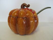 Autumn Thanksgiving Fall Halloween LARGE PUMPKIN SOUP TUREEN AND LADEL