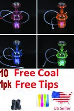 Portable Hookah Shisha Travel Cup With LED Light w Free Tips and Coal
