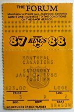 1988 Montreal Canadiens vs Los Angeles Kings Ticket Stub 1/2/88