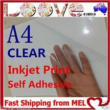 10x A4 Transparent Clear Glossy Self Adhesive Sticker Paper Label Inkjet Print