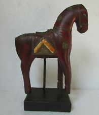 Old Horse Statue Handcrafted Brass Fitted Wooden Horse on Stand, Collectible