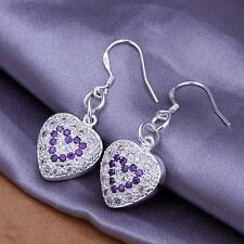 925 Sterling Silver Earrings Purple Zircon Heart Ear Ring Drop Stud Women Gift