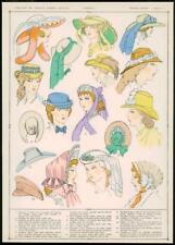 C1920 antica stampa francese Cappelli Cappelli Moda Donna Cappellini (113)