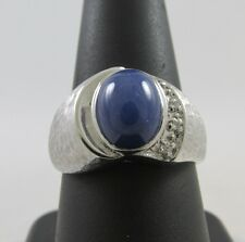 MEN'S 14KT WHITE GOLD 2.25 CT LINDY STAR SAPPHIRE & DIAMOND RING