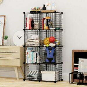 4 to 25 Cube Black DIY Wire Storage Shelves Cabinet Metal Display Shelf Toy Book