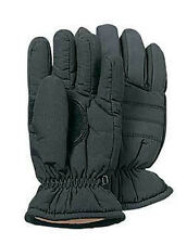 Insulated Hunting Gloves - Leather Palm Elastic Cuff Thermal Insulation - BLACK