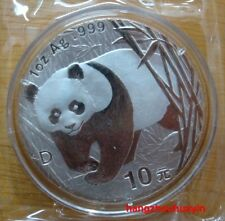 "2001 panda 1oz silver coin with ""D ""mark"