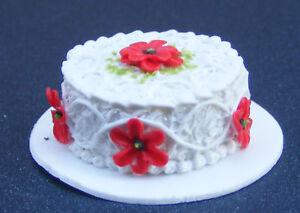 1:12 Scale White Iced Cake Tumdee Dolls House Miniature Bakery Accessory NC49