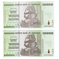 50-trillion x2 (100-trillion) Zimbabwe dollars UNC banknotes 2008 AA and letter