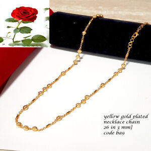 """gold plated beads chain necklace long 26"""" Indian jewellery thin style code ba9"""