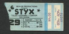 Original 1979 Styx Concert Ticket Stub Tulsa Oklahoma Cornerstone Babe