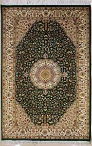 Rugstc 4x6 Senneh Pak Persian Green  Rug, Hand-Knotted,Floral with Silk/Wool